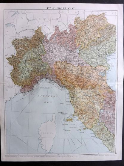 Gross 1920 Large Map. Italy - North West